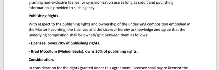 screenshot of the publishing section of an exclusive rights contract